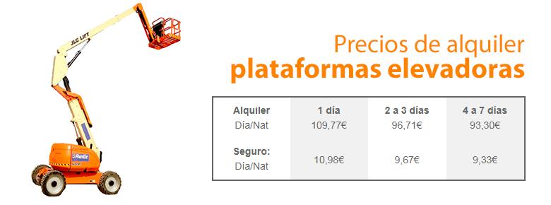 precio dealquiler plataformas elevadoras en Leganés.